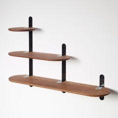 VERTEBRAE wall racks and shelving system,walnut natural oiled, black interconnectors, design by Frederik Delbart for PER/USE