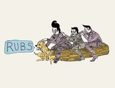 Rubs.  Drawing by Zoe Phillips 2014.