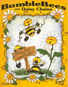 Bees and Daisies Bee Painting, Summer Painting, Fabric Painting, Painting & Drawing, Pallet Painting, Magazine Crafts, Magazine Art, Painted Books, Painted Signs