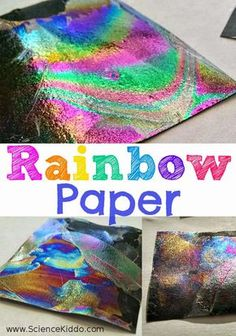 Rainbow Paper | Color Science for Kids - Printemps et arc-en-ciel expérience simple avec du vernis transparent : When you dip the paper into the water it gets coated with a thin layer of nail polish. Light is reflected by the nail polish, creating rainbow patterns. This is basically the same thing that happens when a rainbow is naturally formed in the sky. RAINBOW PRINTEMPS