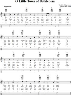 O Little Town of Bethlehem: Chords, Sheet Music and Tab for Ukulele with Lyrics Violin Chords, Easy Guitar Songs, Guitar Chords For Songs, Uke Songs, Guitar Sheet Music, Ukulele Tabs, Guitar Tips, Piano Music, Christmas Ukulele Songs
