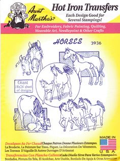 Vintage Aunt Martha's Hot Iron Transfers, Embroidery, Pattern, Needlepoint, Fabric Painting, Quilting, Aunt Martha, 3936, Horses by winterparkcollect on Etsy