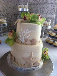 Beach Wedding Cake  www.sweetnessbakeshop.net  facebook.com/sweetnessbakeshop