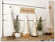vintage style mini christmas trees, christmas decorations http://www.hometalk.com/2582038/vintage-style-mini-christmas-trees