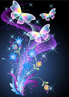 Beautiful butterflies with flowers vector background 01
