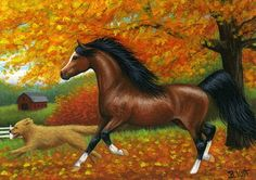 Arabian horse golden retriever dog fall autumn landscape original aceo painting by B. Voth