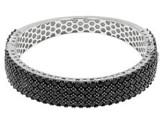 14.73ctw Round Black Spinel Sterling Silver Hinged Bangle Bracelet