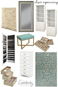Tips and products for creating an inexpensive and well organized closet.