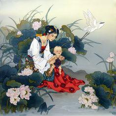 His Father's Eyes Limited Edition - Caroline Young Studios Japanese Prints, Japanese Art, Chinese Painting, Chinese Art, Silk Painting, Figure Painting, Illustrations, Illustration Art, Manga Anime
