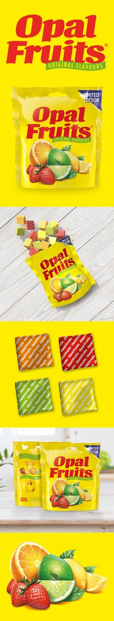 Straight Forward Design brings much-loved Opal Fruits back to life after more than two decades of absence with a nostalgic rebrand. Packaging Design, Opal, Snack Recipes, Lime, Strawberry, Chips, Branding, Orange, Fruit