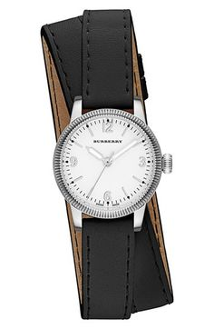 Burberry 'Utilitarian' Round Leather Wrap Watch @Nordstrom