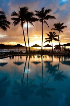 Beach pool sunset night