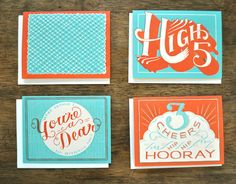 colours. font. Hooray For You - Hand Printed Card - Set of 8. $35.00, via Etsy.