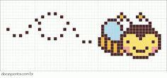 Free Bee Hama Perler Bead Pattern or cross stitch pattern Kawaii Cross Stitch, Tiny Cross Stitch, Beaded Cross Stitch, Cross Stitch Animals, Cross Stitch Charts, Cross Stitch Designs, Cross Stitch Embroidery, Cross Stitch Patterns, Perler Patterns