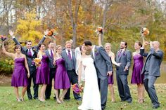 wedding party, best wedding party photos, rustic purple DIY wedding, purple and…