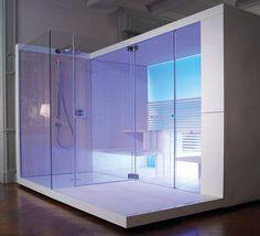 Une douche en verre