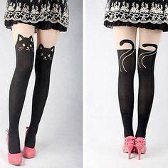 Women Cute Cat Tail Kitten Knee High Tattoo Stockings Pantyhose Tights Free Shipping  DE003 US $5.99