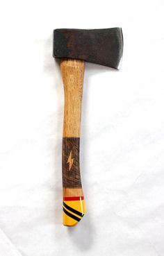 Hand Restored Painted & Wood Burned camp hatchet. by TheHivernant, $185.00
