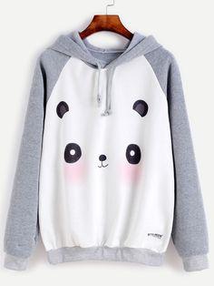 Contrast Cartoon Panda Print Raglan Sleeve Hooded Sweatshirt Mobile Site