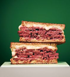 Grilled Corned Beef and Fontina Sandwiches...   These delicious, gooey sandwiches are perfect with dill pickles and plenty of coleslaw