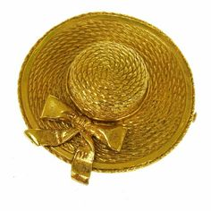 Auth  Hat Motif Brooch Pin BBG0116 It is 100% Authentic Item - Previously Owned but Good Condition,Please Check all the Photos!  Material: Gold-tone, Color : Gold ,,,,  No Trade. CHANEL Jewelry Brooches