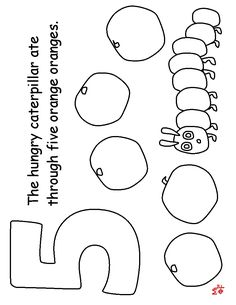 THE VERY HUNGRY CATERPILLAR COLOURING pages 1-5