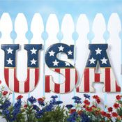 Wonderful Patriotic American Star Stripes USA Letters Wall Fence Of July Outdoor Decor