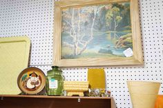 Lovely paint-by-number painting of a river scene with coordinating vintage items.