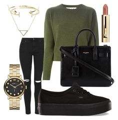 """""""Green and gold"""" by luvmysocks on Polyvore featuring Topshop, Marni, Yves Saint Laurent, Vans, Banana Republic, Aéropostale and Marc by Marc Jacobs"""