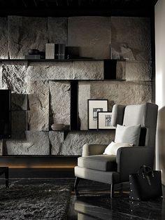 Astonishing Living Room With Stone Wall Design Ideas - Fresh Home Ideas Stone Interior, Interior Walls, Interior And Exterior, Modern Interior, Stone Wall Design, My New Room, Interiores Design, Interior Inspiration, Interior Architecture