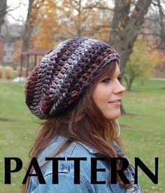 Chunky Slouchy Hat, Cool Crochet Hats for Men or Women from Midwest Crochet, Mixed Colors Slouchy Beanie Easy Crochet Hat Patterns, Crochet Hat For Women, Crochet Beanie Pattern, Knitting Patterns, Crochet Ideas, Crochet Slouchy Beanie, Knitted Hats, Double Crochet, Crochet Lace