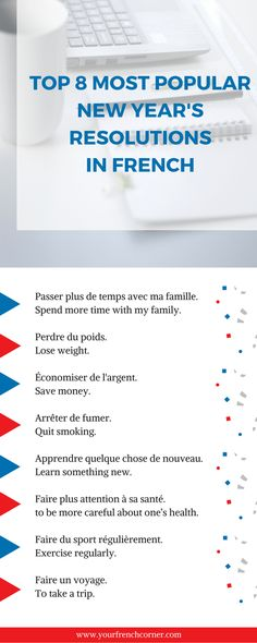 Here is a list of vocabulary and constructions to write your New Year's resolutions in French. #learningfrench #fle