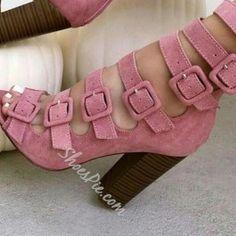 Sweet+Pink+Buckled+Chunky+Heel+Fashion+Booties+$91.13