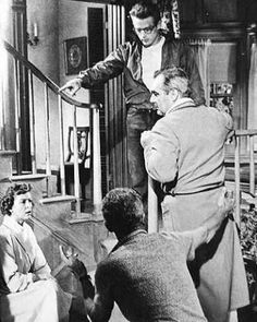 "James Dean, Jim Backus, Sal Mineo and Natalie Wood-""Rebel without a Cause."""