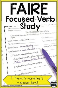 These printable faire verb worksheets are a great way for your French students practice their French verbs! Your middle or high school French students will like completing these French activities for homework, classwork, or bell ringers. Click to get all