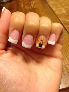 Thanksgiving nails - turkeys on my acrylic nails