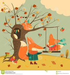 Buy Cute Foxes Ride On a Swing In The Autumn Forest by masastarus on GraphicRiver. Cute foxes ride on a swing in the autumn forest. Fall Clip Art, Autumn Illustration, Autumn Forest, Fox Art, Cute Fox, Squirrel, Vector Art, Design Art, Graphic Design