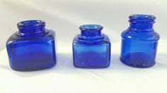Cobalt Blue Lot of 3 Vintage Square Round Inkwell Ink Pot Bottles