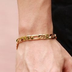 Gold Chains For Men New Men's IP Gold Plated Steel Bangle Item Type: Bracelets Fine or Fashion: Fashion Model Number: Shape\pattern: Geometric Chain Type: Link Chain Clasp Type: Lobster Style: Trendy Bracelets Type: Chain Bracelets Fins, Bracelets Design, Mens Gold Bracelets, Mens Gold Jewelry, Trendy Bracelets, Punk Jewelry, Gold Plated Bracelets, Fashion Bracelets, Bangle Bracelets