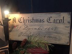 A Christmas Carol~ very olde and prim looking- great addition to your Christmas displays~ Prim or Colonial. Would look beautiful on a shelf displayed with your pewter . Colonial or Primitive sign, Colonial Christmas, Christmas classic Measures approx 10 x Woodland Christmas, Christmas Tea, Victorian Christmas, Primitive Christmas, Christmas Music, Christmas Signs, Vintage Christmas, Christmas Crafts, Christmas Door