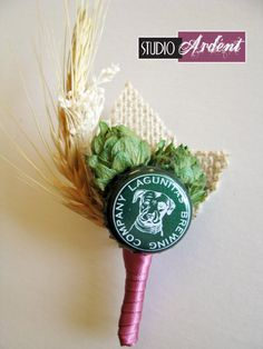 Beer lovers special event or wedding boutonniere, by StudioArdent
