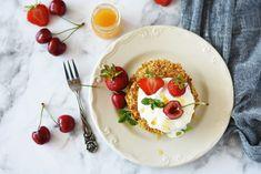 Yummy Food, Yummy Recipes, Panna Cotta, Pancakes, Cherry, Ethnic Recipes, Banana, Tasty Food Recipes, Delicious Food