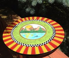 Lazy Susan hand painted mountain lake loon by paintingbymichele, $99.00