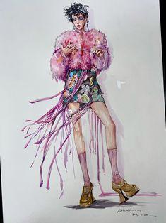 Costume Design Sketch, Dress Design Sketches, Fashion Design Sketches, Couture Fashion, Fashion Art, Fashion Trends, High Fashion Poses, Fashion Illustration Dresses, Magazine Illustration