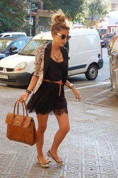 black dress, blazer, brown belt, and flats