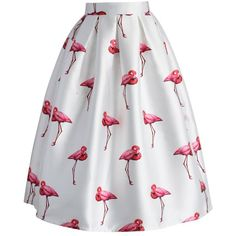Chicwish Chic Flamingos Pleated A-line Skirt (€38) ❤ liked on Polyvore featuring skirts, bottoms, saias, юбки, white, white knee length skirt, white ruffle skirt, calf length skirts, white puffy skirt and a line midi skirt