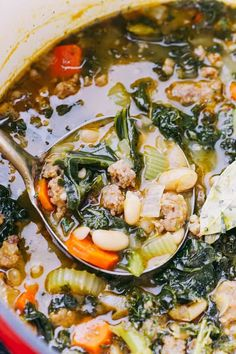 Italian Sausage Soup with Kale and Beans - Amazing, hearty, and incredibly delicious soup prepared with Italian Sausage, onions, garlic, kale, and beans!