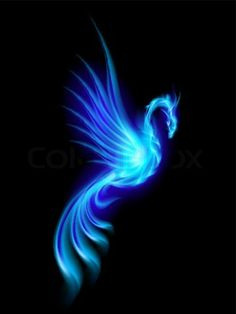 Blue Flames | Stock vector of 'Burning blue phoenix isolated over black background'