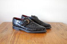 lacets Vintage années 90 / chaussures BCBG de brevet / Vegan Gator Creepers-7/8