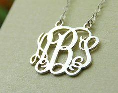 Monogram necklace  1.25 monogram necklace  925 by diyjewerly, $21.99